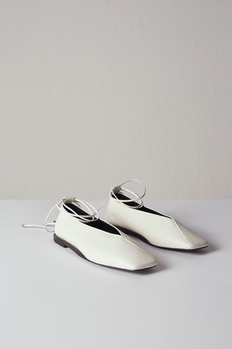 Emma Flat Leather Ivory