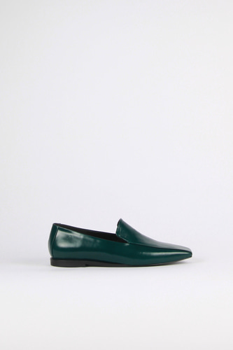 Devona Loafer Leather Dark Greenblanc sur blanc 블랑수블랑