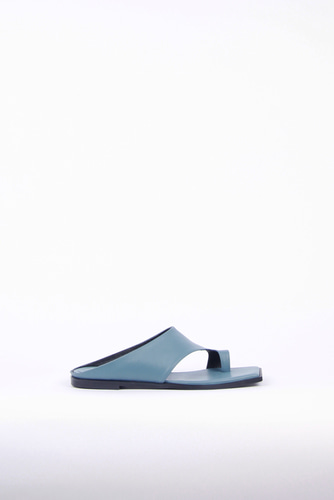 Diana Leather Slides Ocean Blueblanc sur blanc 블랑수블랑