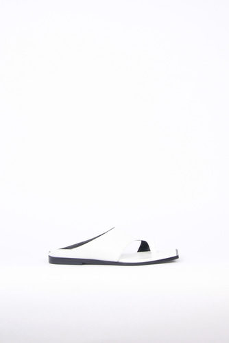Diana Leather Slides Whiteblanc sur blanc 블랑수블랑