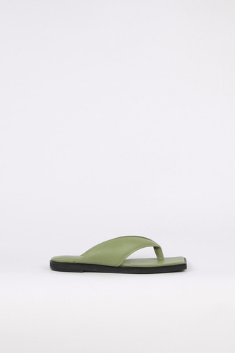 Nadia Flip-Flop Leather Slides Sage Greenblanc sur blanc 블랑수블랑