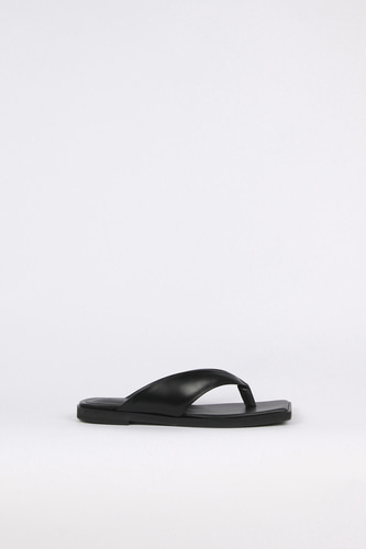 Nadia Flip-Flop Leather Slides Blackblanc sur blanc 블랑수블랑