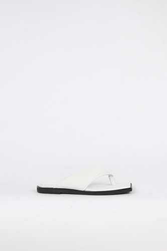 Nadia Flip-Flop Leather Slides Whiteblanc sur blanc 블랑수블랑