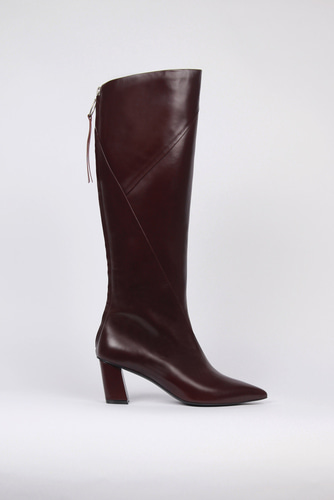 Magot Long Boots Leather Burgundyblanc sur blanc 블랑수블랑