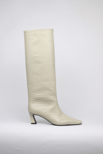 Mia Boots Leather Beige Crocoblanc sur blanc 블랑수블랑