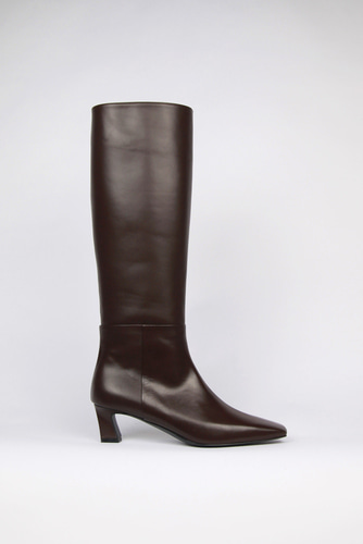 Ava Long Boots Leather Brownblanc sur blanc 블랑수블랑