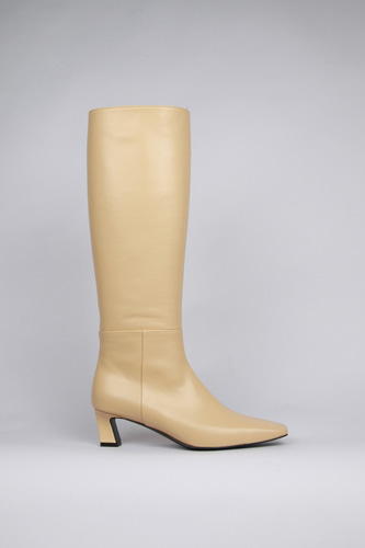 Ava Long Boots Leather Butter Yellowblanc sur blanc 블랑수블랑