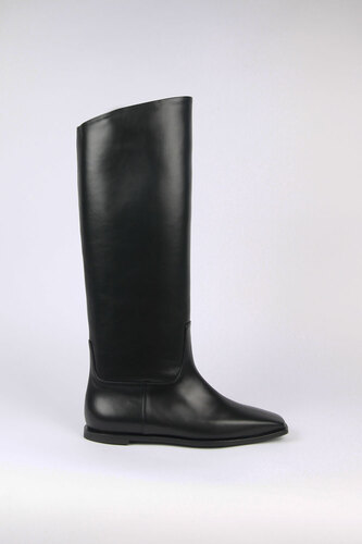 [Exclusive] Hervé Long Boots Leather Blackblanc sur blanc 블랑수블랑